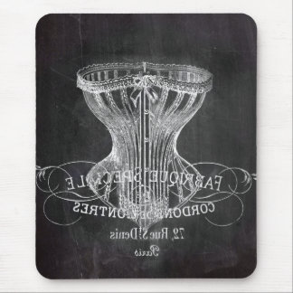 shabby chic vintage corset Chalkboard fashion Mouse Pads