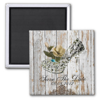 shabby chic vintage country wedding favor square magnet