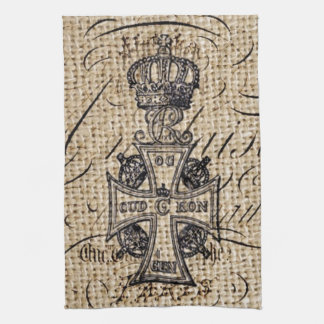 Shabby chic vintage crown burlap religious cross tea towel