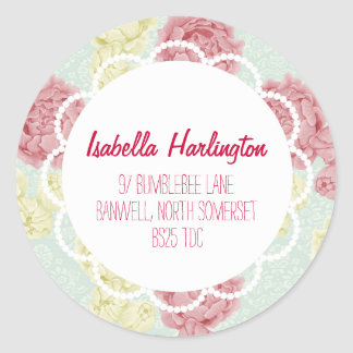 Shabby Chic Vintage Floral Return Address Label Round Sticker
