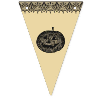 Shabby Chic Vintage Look Halloween Bunting Banner