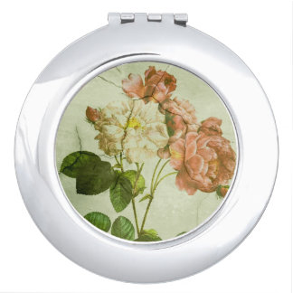 Shabby Chic Vintage Pastel Pink Peonies Compact Mirror