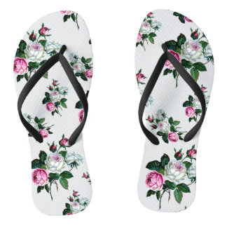 Shabby Chic Vintage Pink and White Roses Pattern Thongs