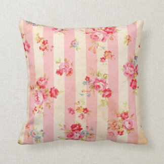Shabby Chic Vintage Pink Stripes and Roses Throw Pillow