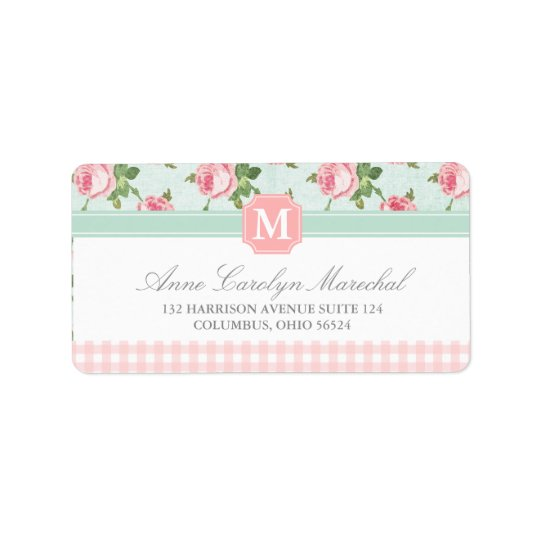 Shabby & Chic Vintage Rose Floral Personalised Address Label
