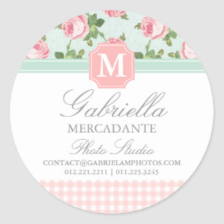 Shabby & Chic Vintage Rose Floral Personalized Classic Round Sticker