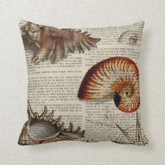 shabby chic vintage sea shells beach nautical cushion