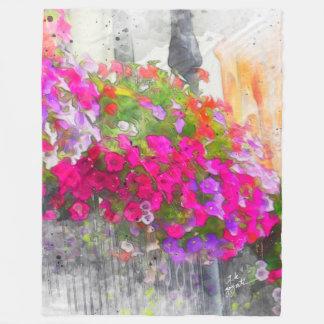 Shabby Chic Watercolor Floral Trendy Modern Fleece Blanket