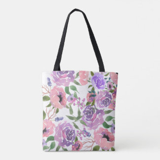 Shabby Chic Watercolor Flower Pink Purple Tote Bag