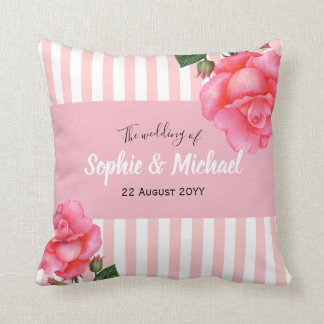 Shabby Chic Watercolor Pink Roses Floral Stripes Cushion