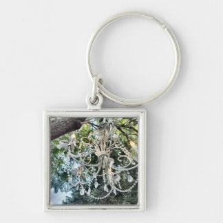 Shabby Chic White Crystal Chandelier Silver-Colored Square Key Ring