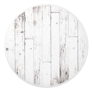 Shabby Chic White Wood Rustic Farmhouse Barn Ceramic Knob