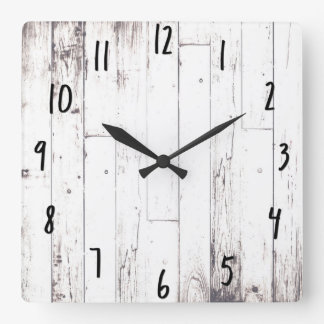 Shabby Chic White Wood Rustic Farmhouse Barn Square Wall Clock
