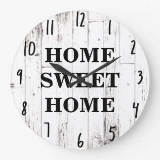 Shabby Chic White Wood Rustic Farmhouse Kitchen Large Clock