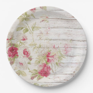 Shabby Chic Wood and Roses Paper Plate