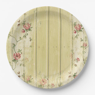 Shabby Chic Wood Vintage Flowers Paper Plate