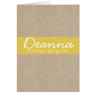 Shabby Chic Yellow Gold Burlap Bridesmaid Request Stationery Note Card
