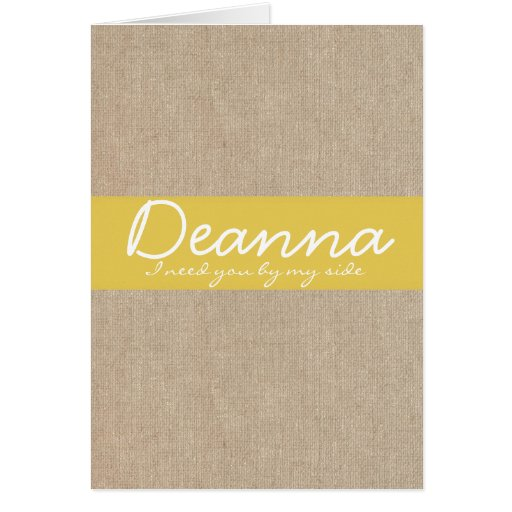 Shabby Chic Yellow Gold Burlap Bridesmaid Request Card