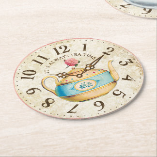 Shabby Clock Teapot Teatime Tea Party Coasters Round Paper Coaster