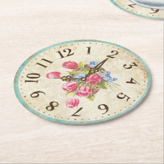 Shabby Clock with Tulips Tea Party Coasters Round Paper Coaster