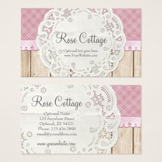 Shabby Cottage Chic Doily on Rustic Country Wood Business Card