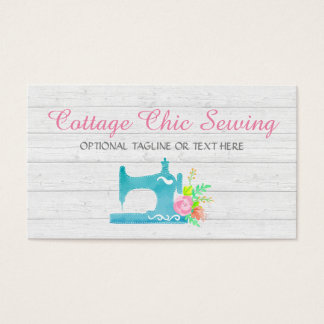Shabby Cottage Chic Sewing Machine Rustic Wood Business Card