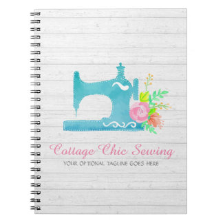 Shabby Cottage Chic Sewing Machine Rustic Wood Notebook