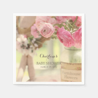 Shabby Country Chic Soft Faded Pink Flowers Paper Napkin