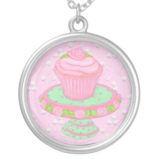 Shabby Cupcake with Roses ~ Necklace