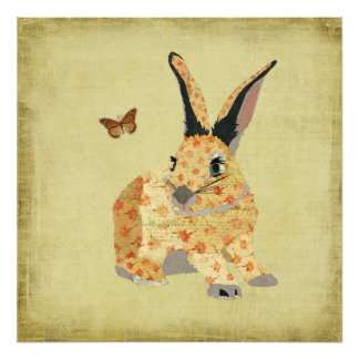 Shabby Floral Bunny Art Poster