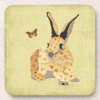 Shabby Floral Bunny  Coaster