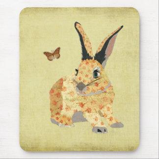 Shabby Floral Bunny Mousepad