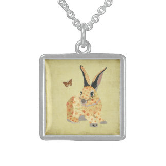 Shabby Floral Bunny  Necklace