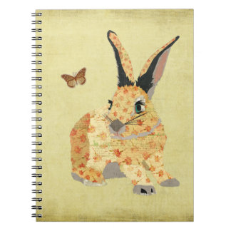 Shabby Floral Bunny  Notebook