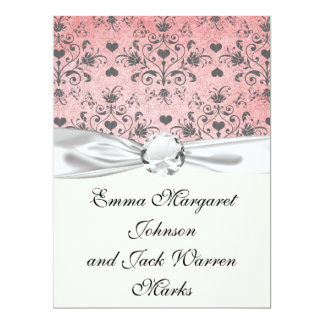 shabby grey heart swirl damask on grunge pink 17 cm x 22 cm invitation card