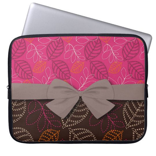 shabby hot pink brown etched leafy pattern laptop sleeve
