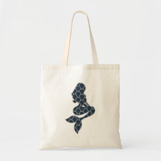 shabby mermaid silhouette design tote bag