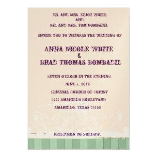 Shabby Peach and Green Wedding Invitation