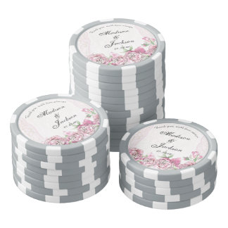 Shabby Peony Vintage Floral Chic Wedding Thank You Poker Chips