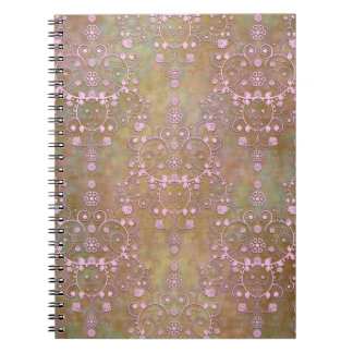 Shabby Pink and Brown Vintage Damask Note Book