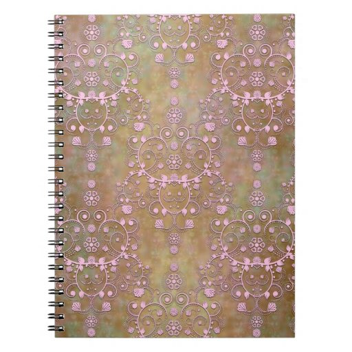 Shabby Pink and Brown Vintage Damask Spiral Note Books