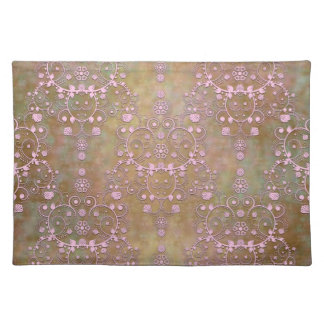 Shabby Pink and Brown Vintage Damask Place Mats