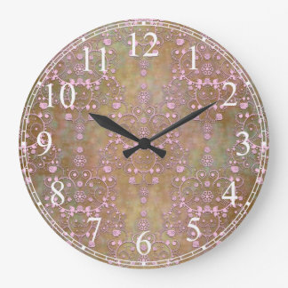 Shabby Pink and Brown Vintage Damask Wall Clocks