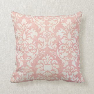 Shabby Pink Damask Reversible Throw Pillow