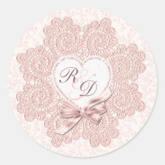 Shabby Pink Victorian Style Monogram Wedding Classic Round Sticker