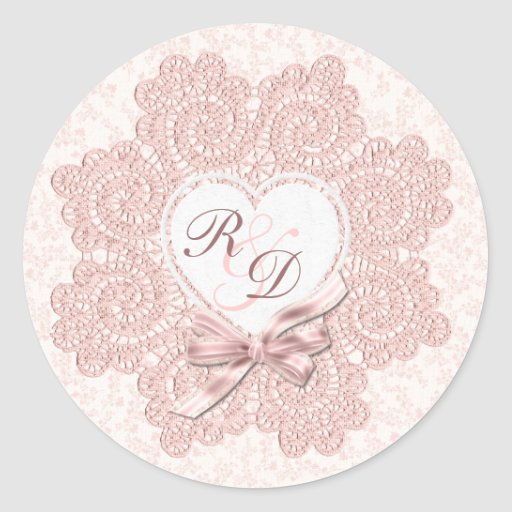 Shabby Pink Victorian Style Monogram Wedding Stickers