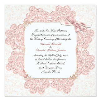 Shabby Pink Victorian Style Wedding Invitation