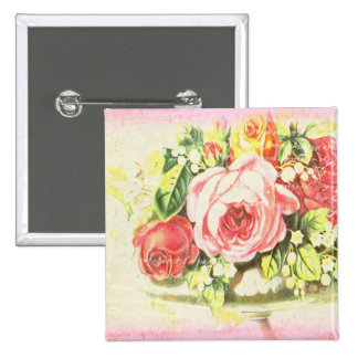 Shabby Rose Collage Art Buttons