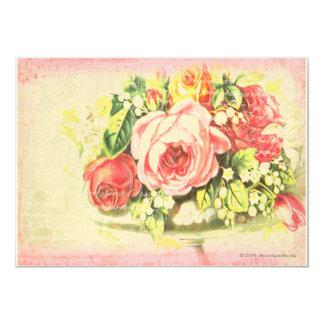 "Shabby Rose Collage Art 5"" X 7"" Invitation Card"