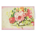 Shabby Rose Collage Art Note Card